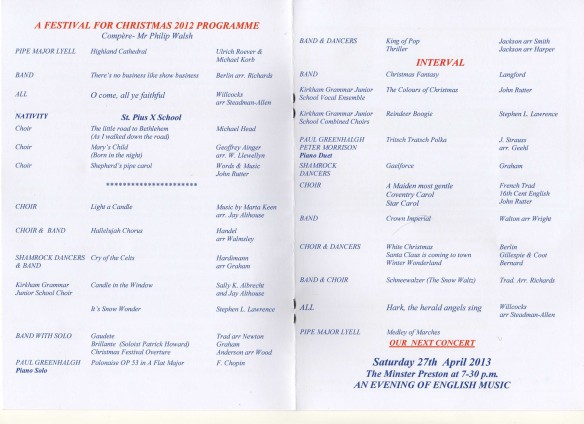 A Festival for Christmas 2012 programme details