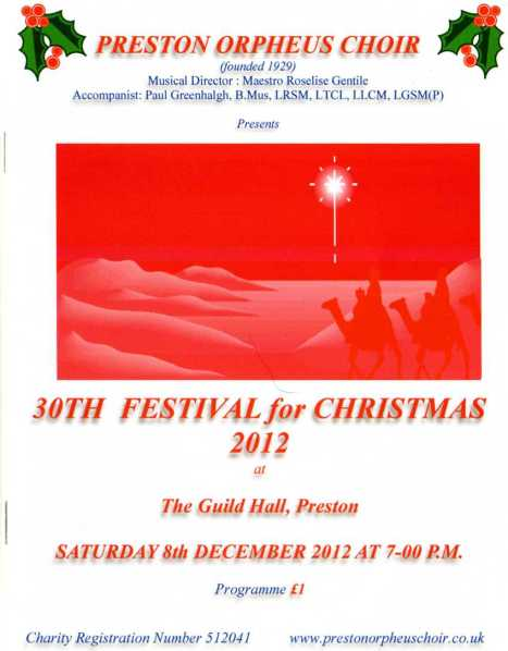 A Festival for Christmas 2012 - programme