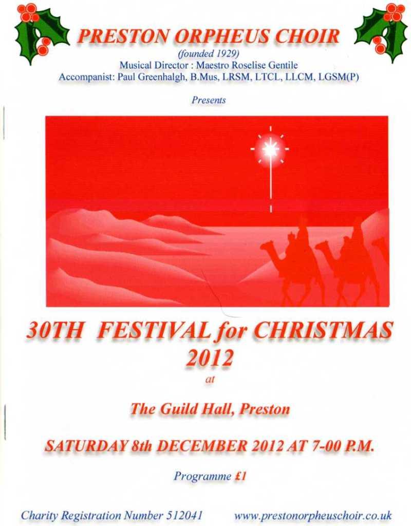 A Festival for Christmas 2012 - programme